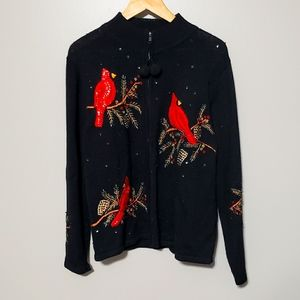 Vintage cardinal embroidered Christmas sweater